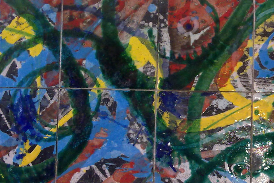Fusione 2: 120x40 cm Terracotta Raku 1000°C