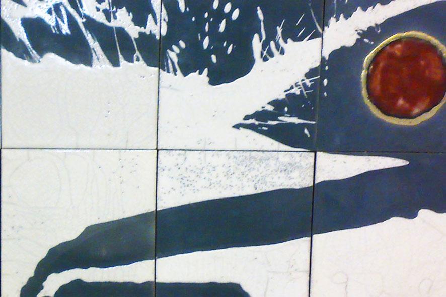 Paesaggio: 120x40 cm Terracotta Raku 1000°C
